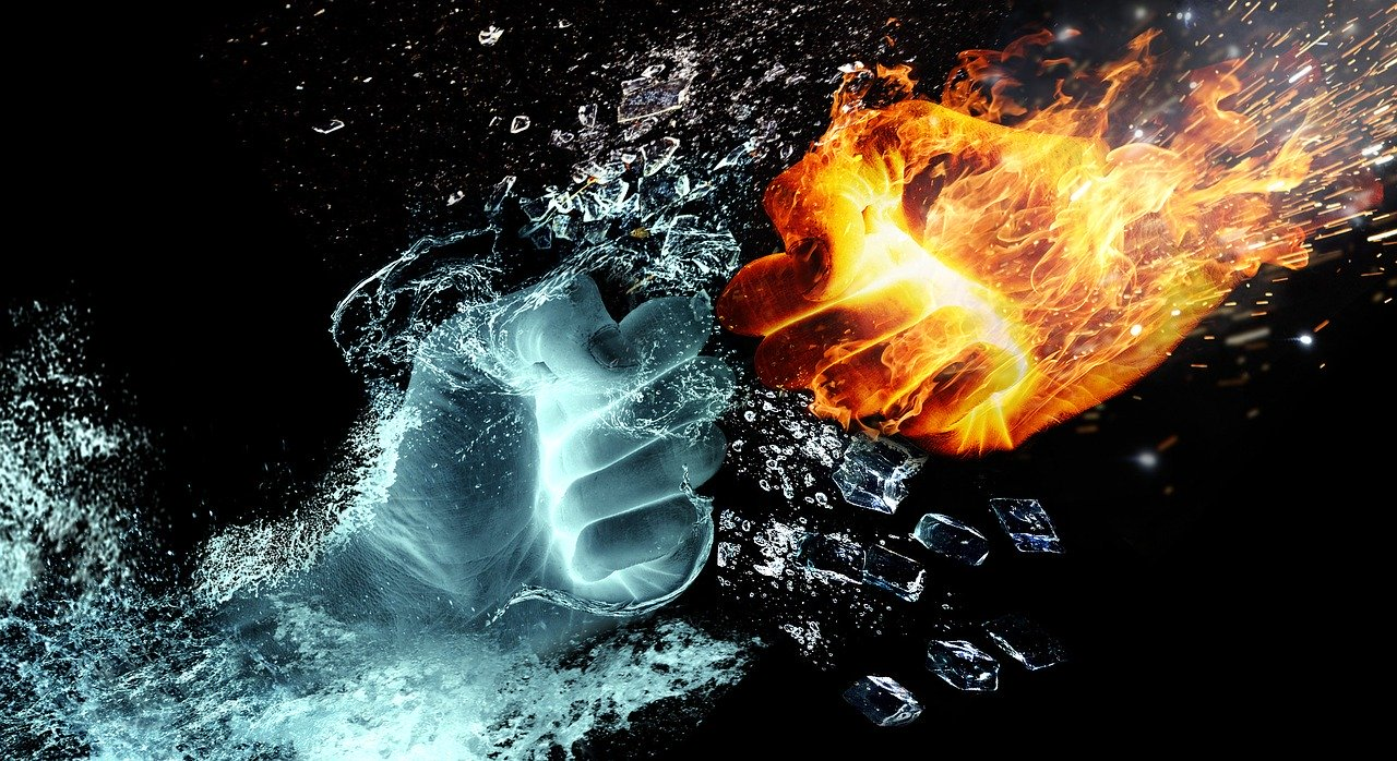fire and water, fight, hands